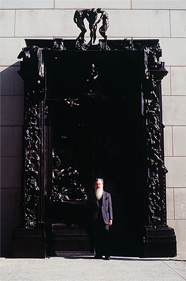 Photo of the poet David Daniels emerging from Rodin's Gates Of Hell into The Gates Of Paradise